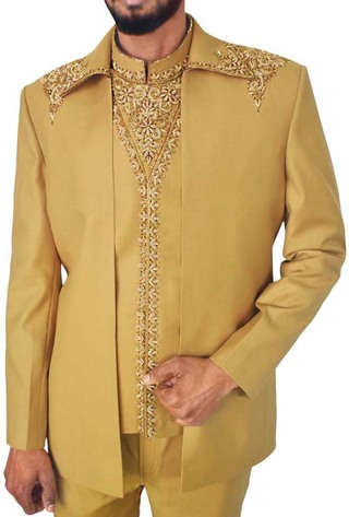 Mens Light Yellow 3 Pc Partywear Suit Embroidered