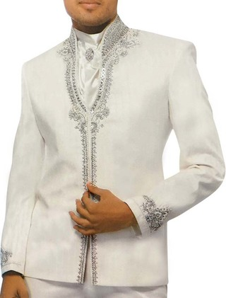 Mens White 4 Pc Partywear Suit Designer