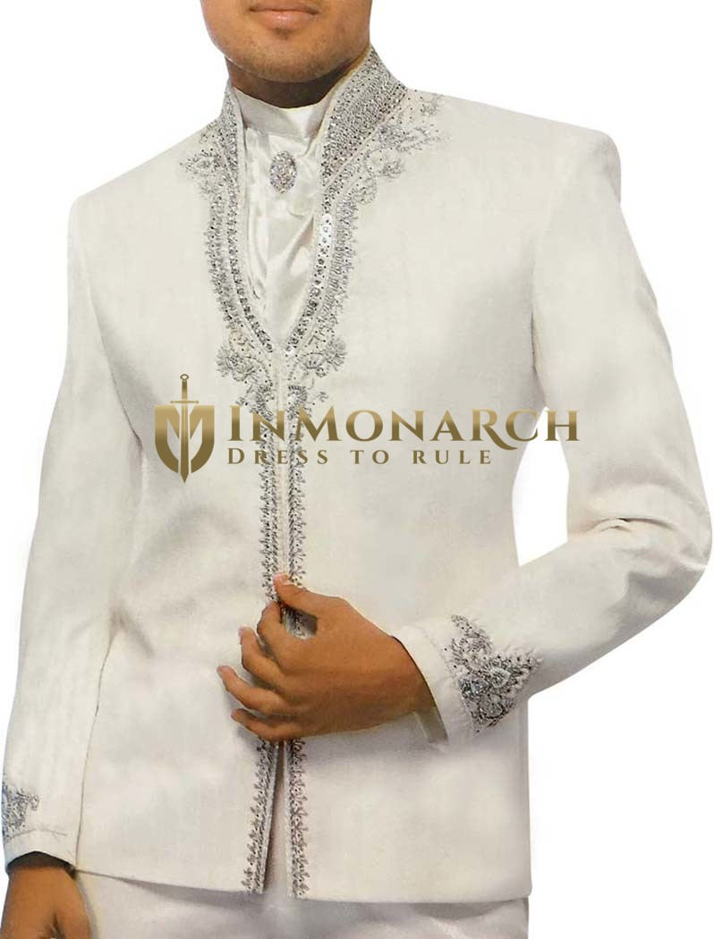White Mens Luxurious Partywear Prom Tuxedo Wedding Suit
