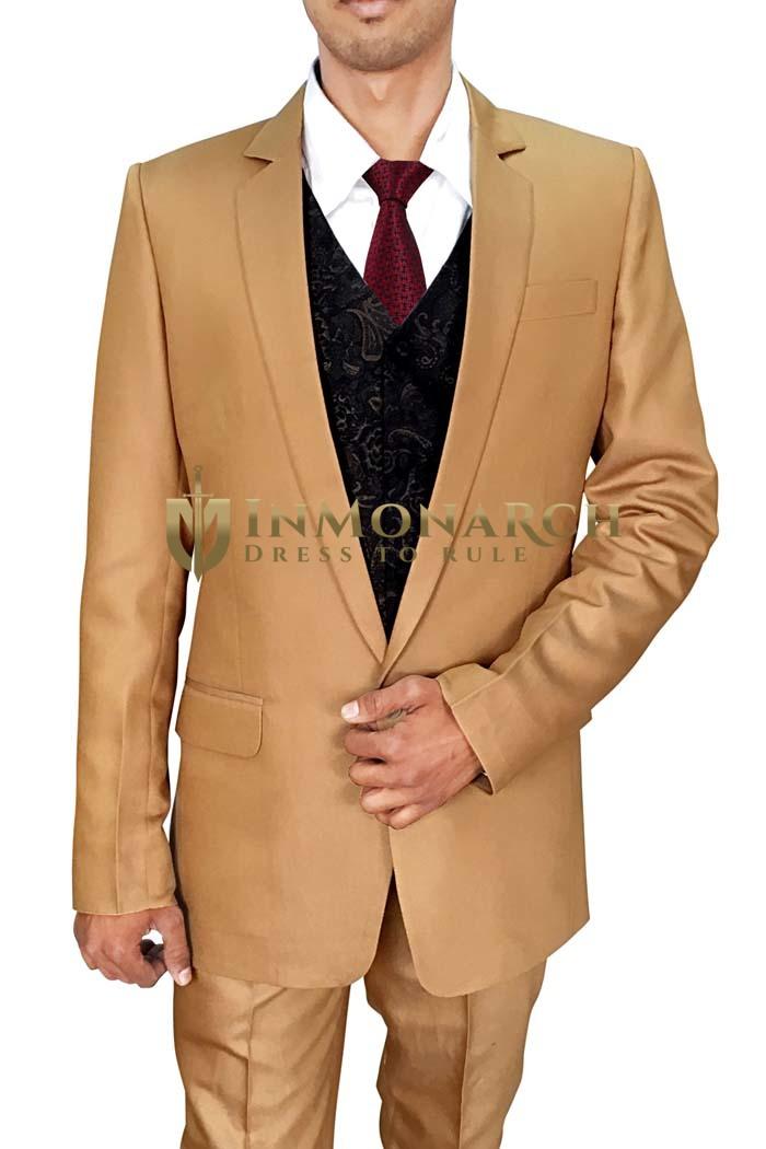 Mens Bisque 5 Pc Partywear Suit Single Button