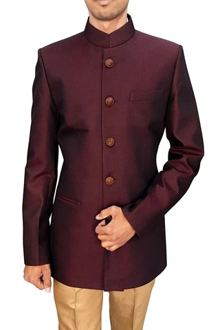 Mens Wine 2 Pc Jodhpuri Suit Occasionwear