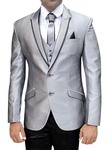 Mens Silver Polyester 6 pc Tuxedo Suit