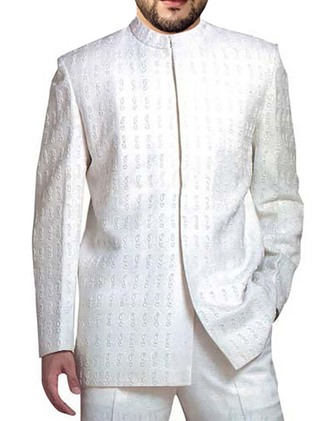 Mens White 2 Pc Jodhpuri Suit Embroidered Nehru Collar