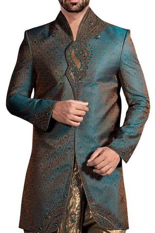 Mens Forest Green 2 Pc Wedding Sherwani Nehru Collar