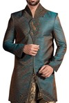 Mens Indo Western Forest Green Wedding Sherwani Nehru Collar