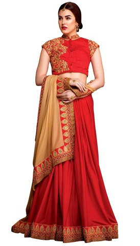 Georgette Red and Beige Partywear Saree