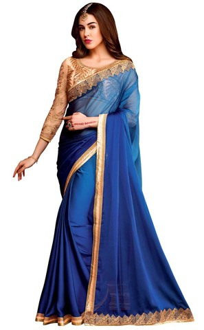 Royal Blue Chiffon Partywear Saree