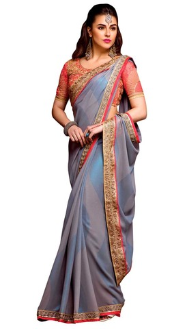 Gray and Blue Stripes Georgette Partywear Sari