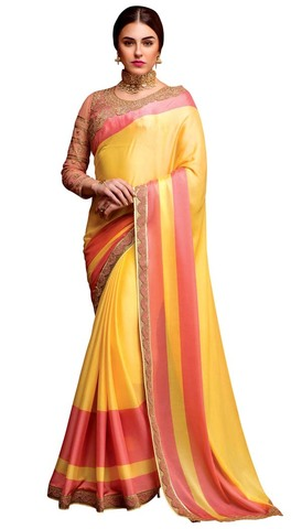 Yellow and Salmon Silk Crepe Bridal Saree