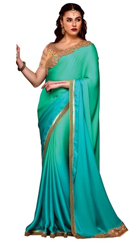 Turquoise Satin Gerogette Wedding Saree