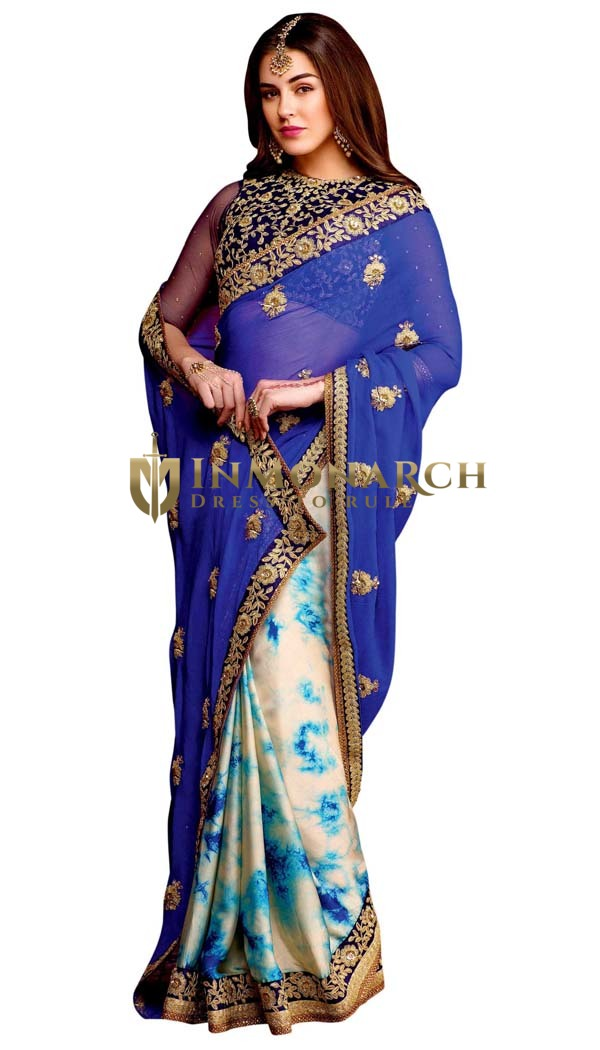 Cream and Blue Chiffon Partywear Saree
