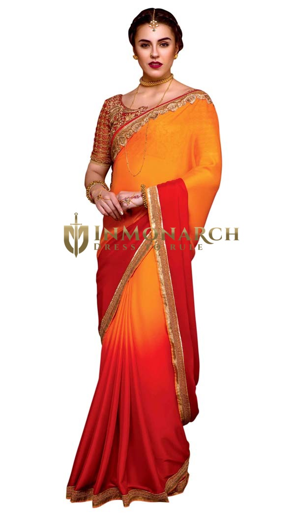 Orange and Red Silky Crepe Wedding Saree