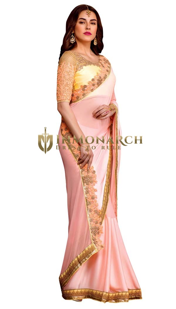 Light Peach Satin Gerogette Bridal Saree