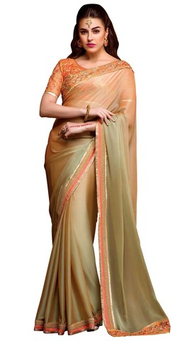 Golden Bemberg Chiffon Bollywood Saree