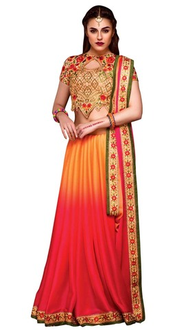 Orange and Crimson Bemberg Chiffon Saree
