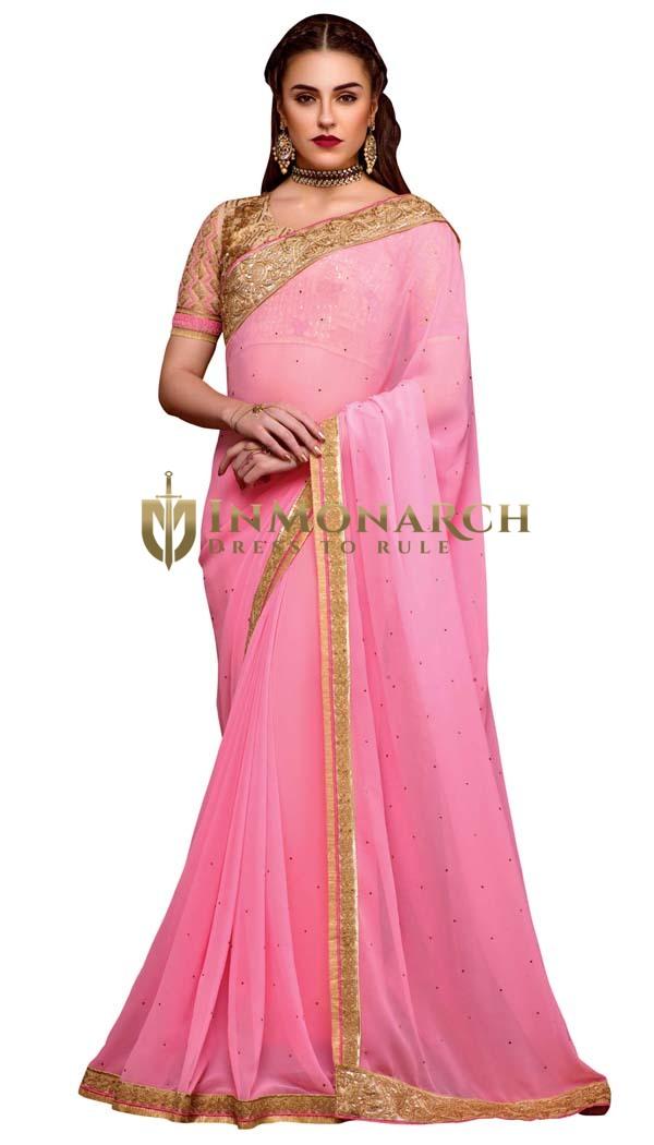 Indian Georgette Pink Designer Sarees