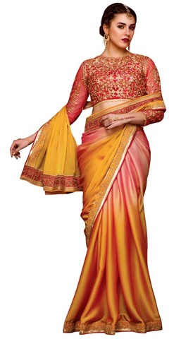 Pink and Mustard Chiffon Partywear Saree