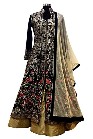 Black Embroidered Long Choli Lehenga