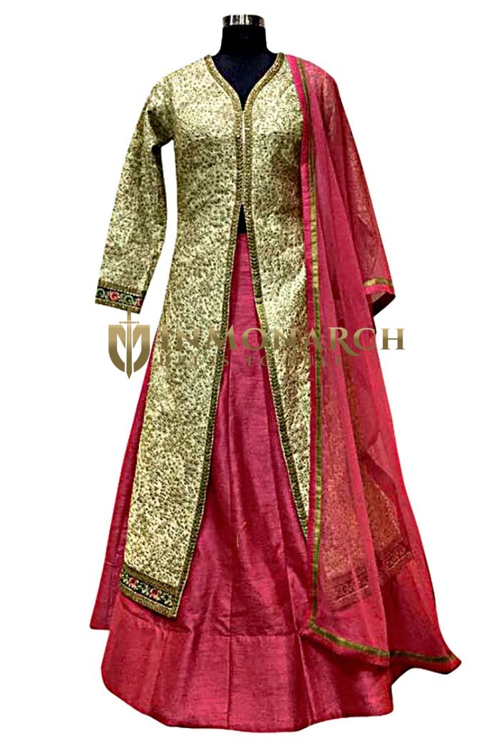 Magenta Dupion Silk Indowestern Suit