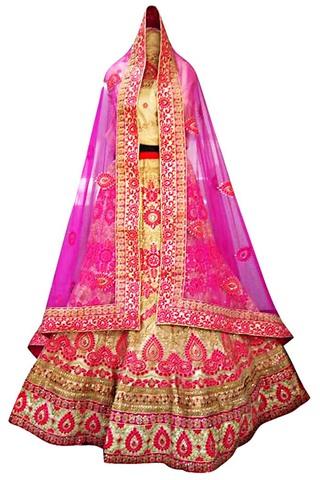 Wedding Beige Dupion Silk Lehenga Choli