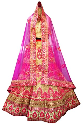 Wedding Beige Dupion Silk Lehenga Choli