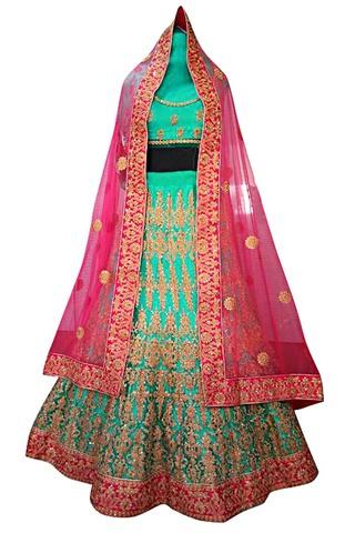 Turquoise Dupion Silk Wedding Lehenga