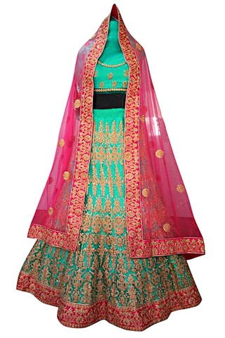 Turquoise Dupion Silk Wedding Lehenga