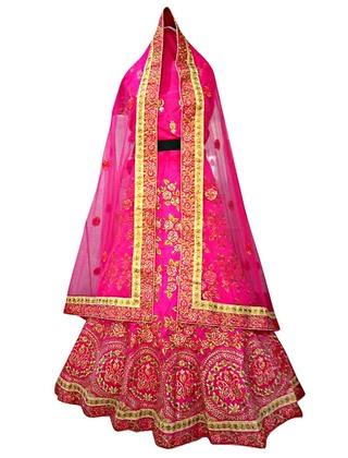 Magenta Dupion Silk Wedding Lehenga Choli