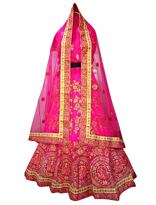 Magenta Dupion Silk Wedding Lehenga Choli