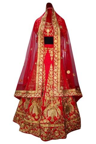 Crimson Red Velvet Bridal Lehenga