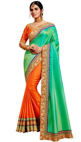Orange and Green Silk Partywear Saree