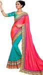 Turquoise and Crimson Art Silk Bridal Saree