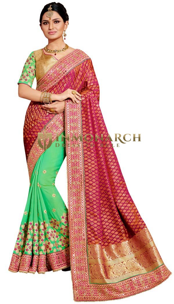 Light Green and Magenta Wedding Saree