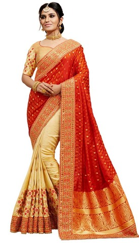 Light Yellow and Red Silk Jacquard Saree