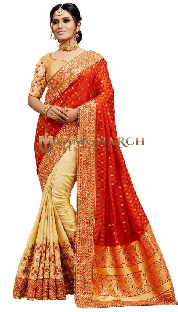 Light Yellow and Red Silk Jacquard Saree