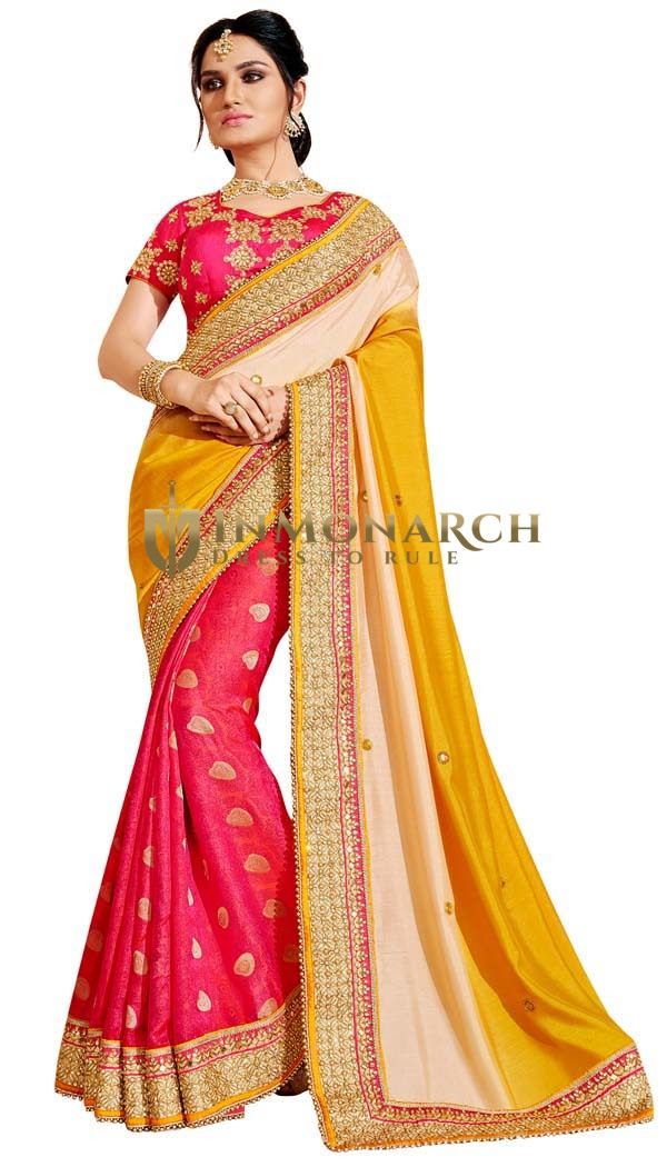 Crimson and Yellow Silk Designer Saree