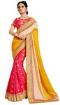 Crimson and Yellow Silk Designer Saree