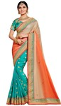 Turquoise and Peach Silk Partywear Saree