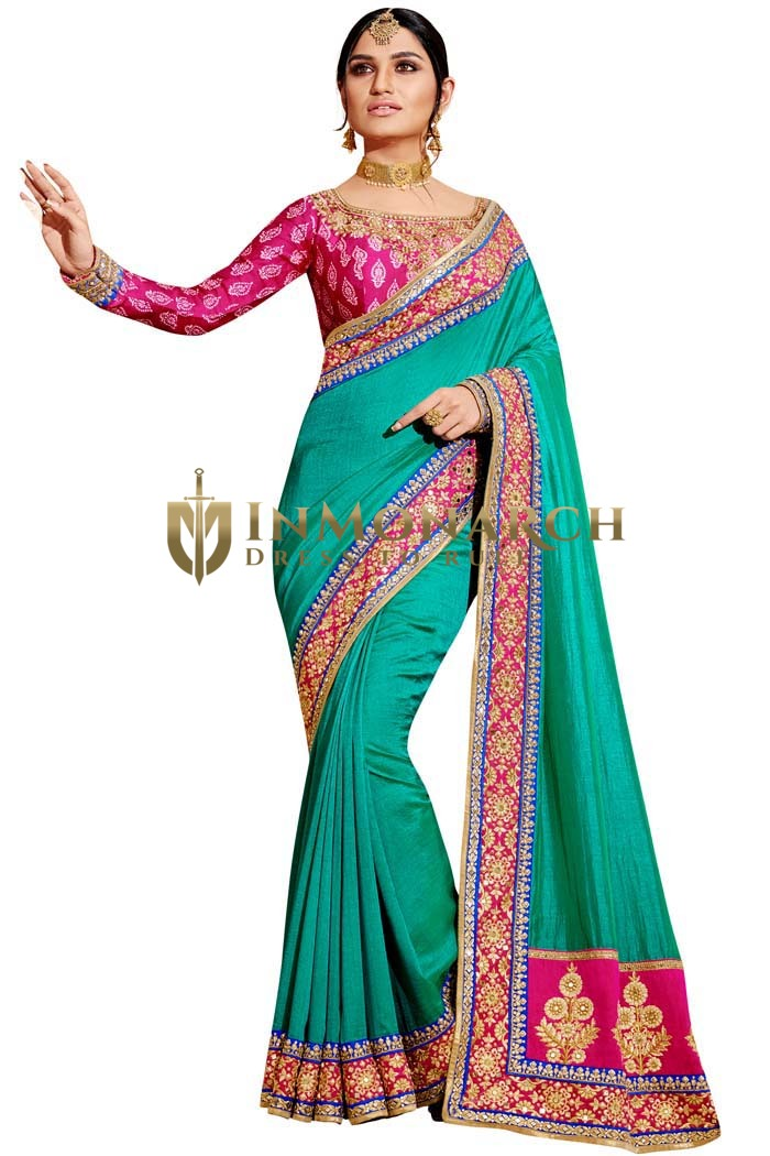 Teal and Magenta Art Silk Bridal Saree