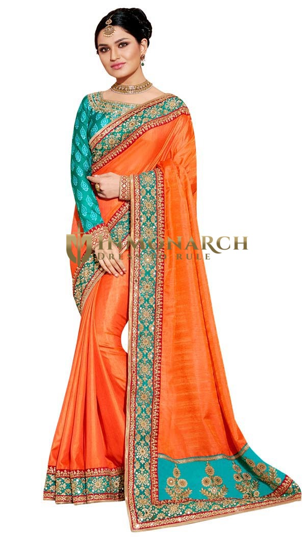 Orange Art Silk Wedding Saree