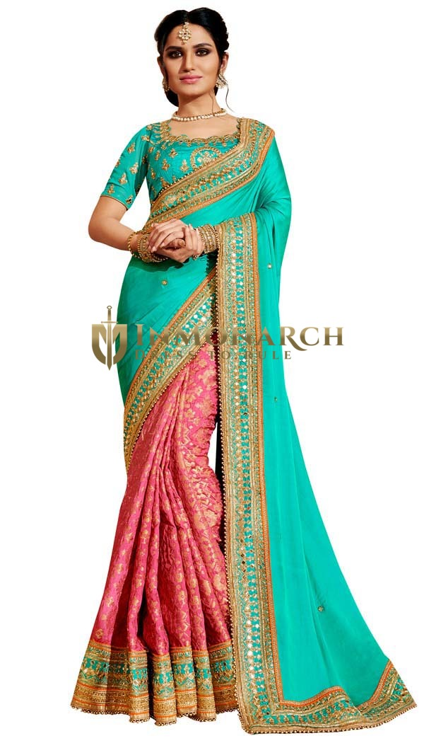 Pink and Turquoise Jacquard Saree