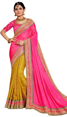 Yellow and Magenta Satin Jacquard Saree