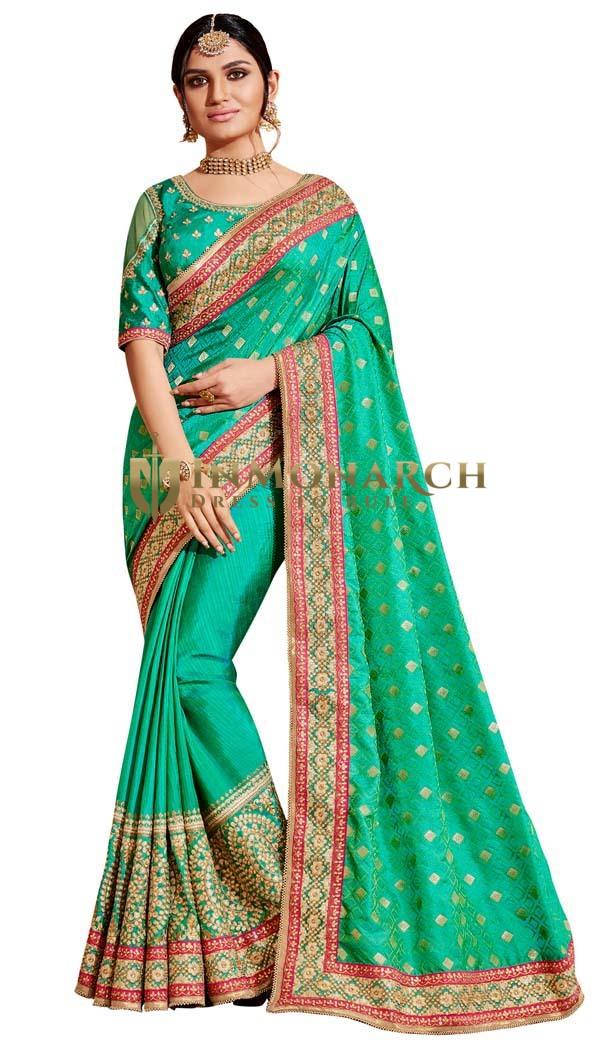 Green Jacquard Silk Partywear Saree