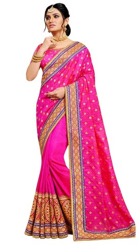 Magenta Jacquard and Art Silk Saree