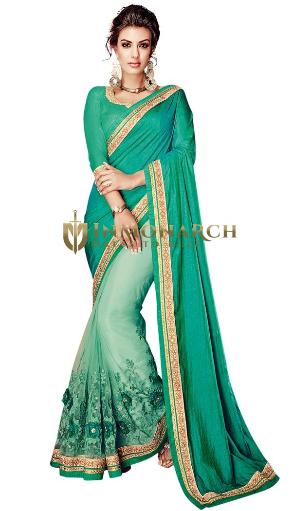 Turquoise Half and Half Partywear Saree