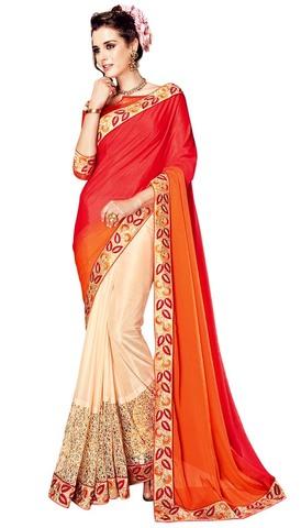 Designer Crepe Chiffon Ivory Bollywood Saree