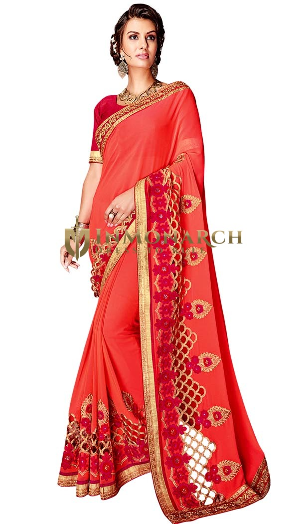Designer Georgette Salmon Bridal Saree