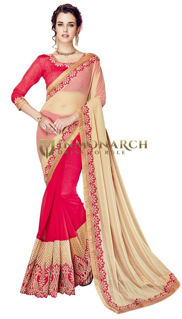 Ivory and Crimson Half and Half Wedding Saree