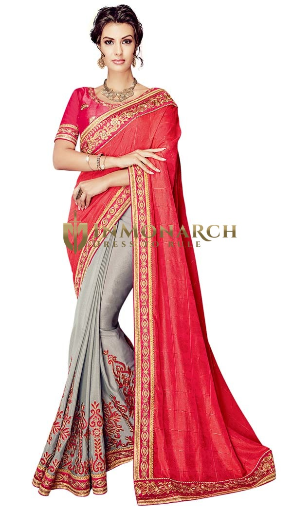 Silver and Crimson Half and Half Designer Saree