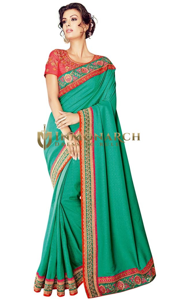 Classical Teal Jacquard Georgette Bridal Saree